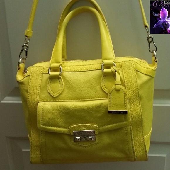 89dff8218f3 COLE HAAN Bags   Lemon Yellow Leather Purse Crossbody   Poshmark